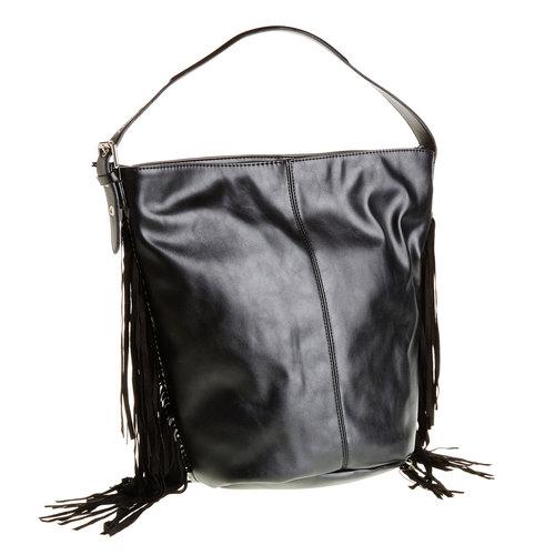 Borsetta con frange bata, nero, 961-6742 - 13