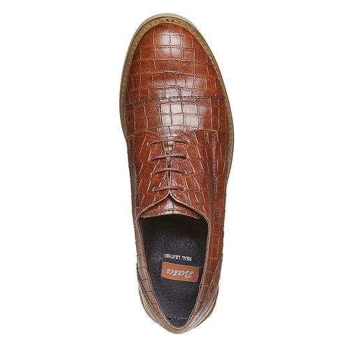 Scarpe basse da donna con effetto pelle di coccodrillo bata, marrone, 521-3317 - 19