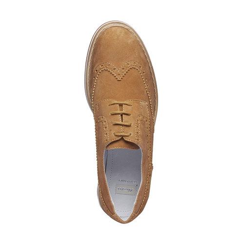 Scarpe basse da donna in pelle con suola appariscente bata, marrone, 523-3489 - 19
