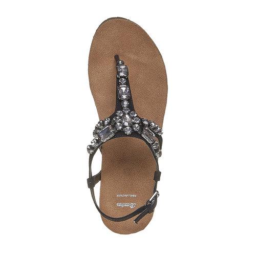 Sandali con strass e plateau bata, nero, 669-6214 - 19