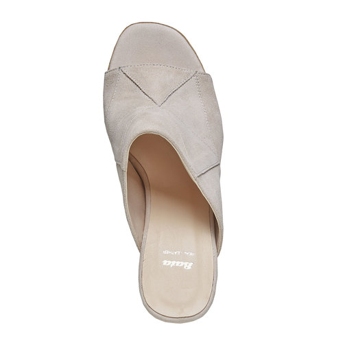 Slip-on da donna in pelle bata, beige, 763-8516 - 19