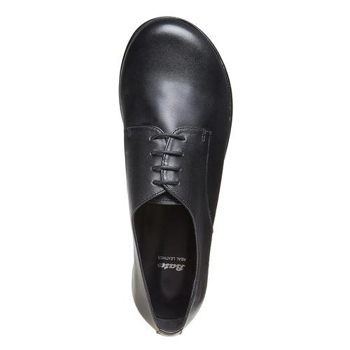 Scarpe basse di pelle con flatform bata, nero, 524-6409 - 19