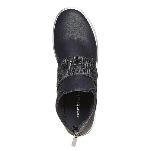 Scarpe da donna alla caviglia con strass north-star, nero, 541-6265 - 19