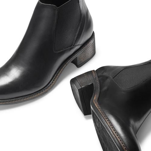 Scarpe in pelle alla caviglia con lati elastici bata, nero, 694-6382 - 19