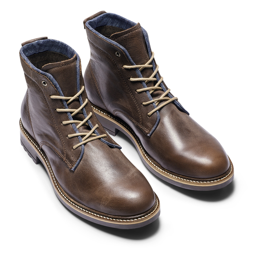 Scarpe di pelle alla caviglia da uomo bata, marrone, 894-4522 - 19