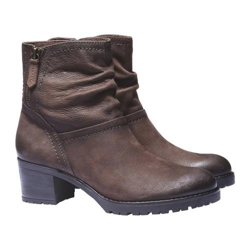 Stivaletti in pelle alla caviglia bata, marrone, 696-4128 - 26