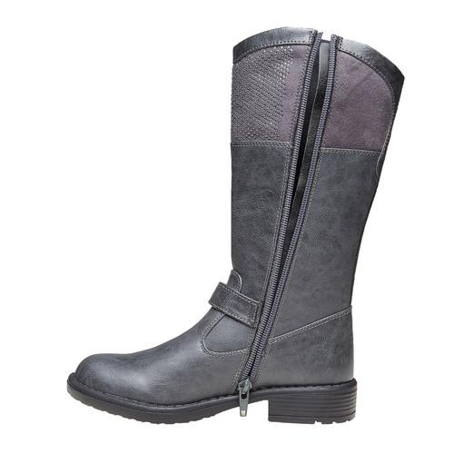 Stivali grigi da ragazza con strass mini-b, grigio, 391-2305 - 19