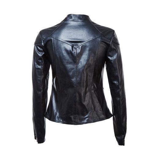 Giacca da donna in pelle con cerniere bata, nero, 974-6162 - 26