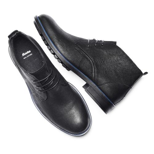 Chukka Boots da uomo in pelle bata, nero, 894-6282 - 19