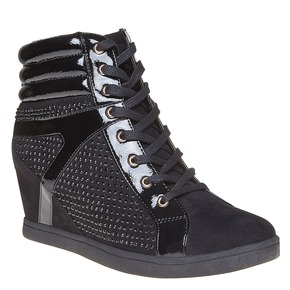 Sneakers da donna con plateau north-star, nero, 729-6360 - 13