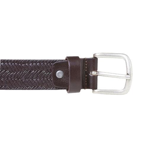 Cintura da uomo in pelle con intrecci bata, marrone, 954-4158 - 26