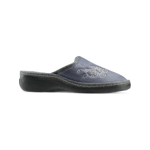 Pantofole con ricamo bata, grigio, 579-2280 - 13