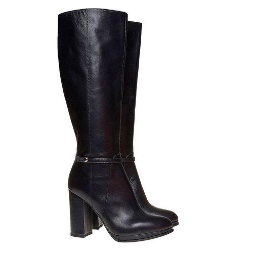 Stivali in pelle con tacco alto bata, nero, 794-6534 - 26