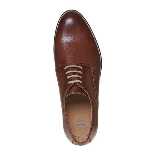 Scarpe basse di pelle in stile Derby bata, marrone, 824-4745 - 19