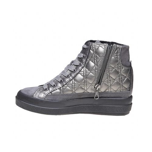 Sneakers argentate con cuciture bata, grigio, 691-2390 - 19