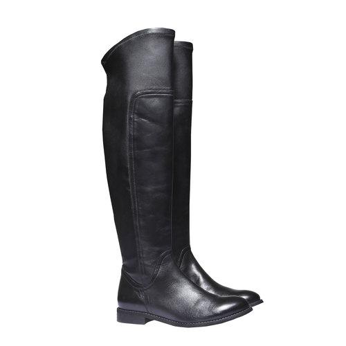 Stivali di pelle sopra il ginocchio bata, nero, 594-6226 - 26