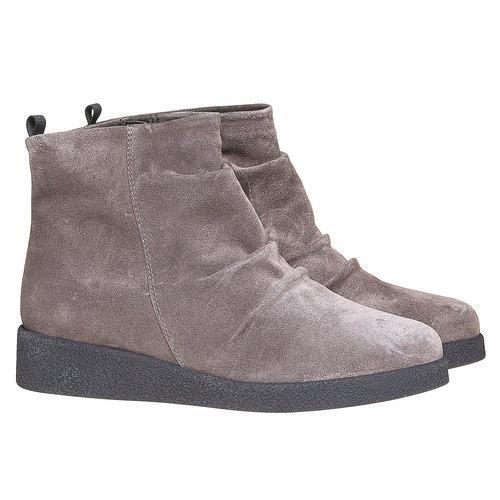 Scarpe di pelle sopra la caviglia flexible, grigio, 593-2577 - 26