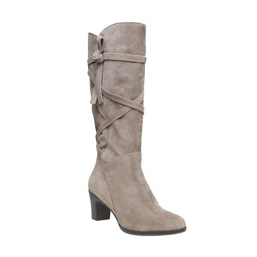 Stivali in pelle da donna con fibbie flexible, grigio, 693-2358 - 13