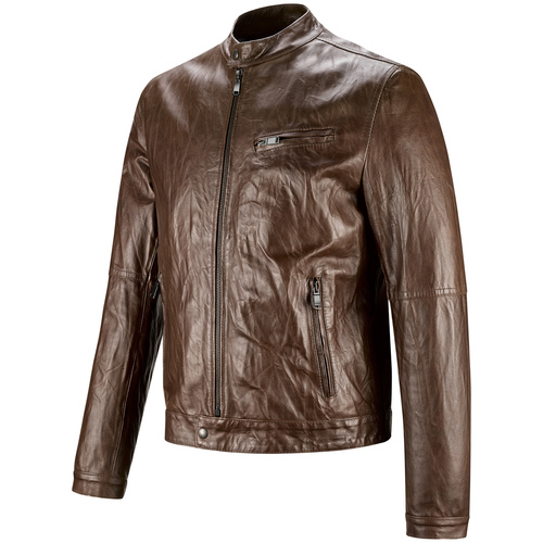 Giacca da uomo in pelle con cuciture eleganti bata, marrone, 974-4142 - 16