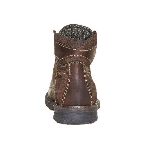 Scarpe alla caviglia da uomo in pelle bata, marrone, 896-4687 - 17