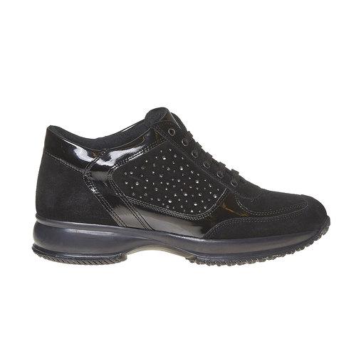 Sneakers in pelle da donna con strass bata, nero, 523-6578 - 15