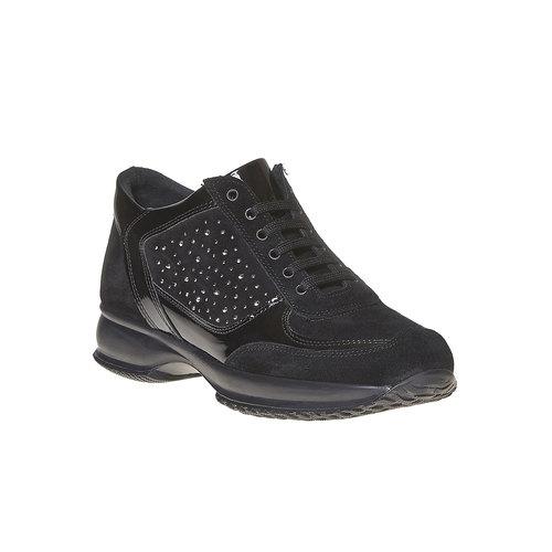 Sneakers in pelle da donna con strass bata, nero, 523-6578 - 13