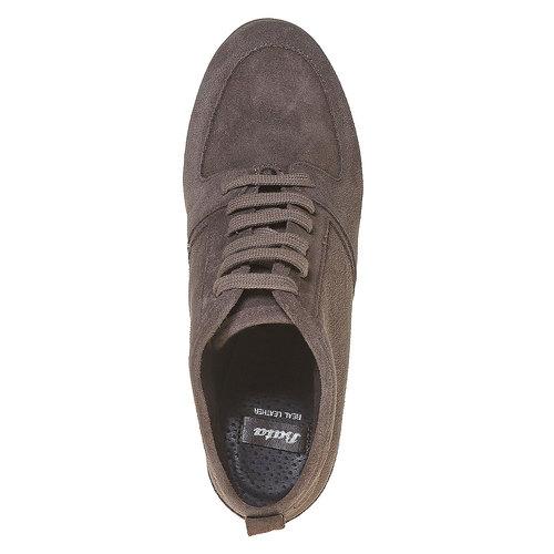 Scarpe in pelle con tacco a zeppa bata, grigio, 723-2828 - 19