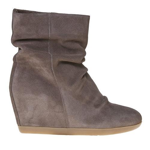 Stivali di pelle con tacco a zeppa bata, grigio, 793-2618 - 15