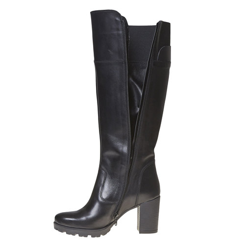 Stivali di pelle con tacco massiccio bata, nero, 794-6580 - 19