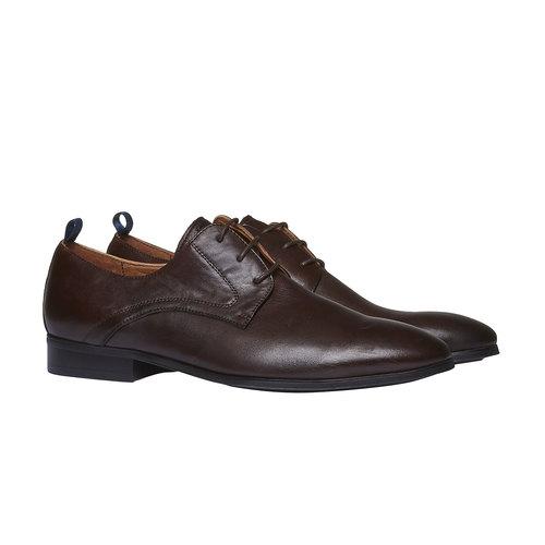 Scarpe stringate di pelle in stile Derby bata, marrone, 824-4673 - 26