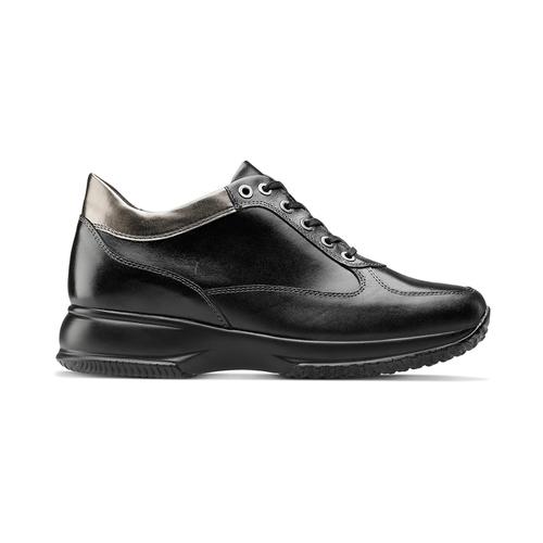 Sneakers informali in pelle bata, nero, 524-6248 - 26