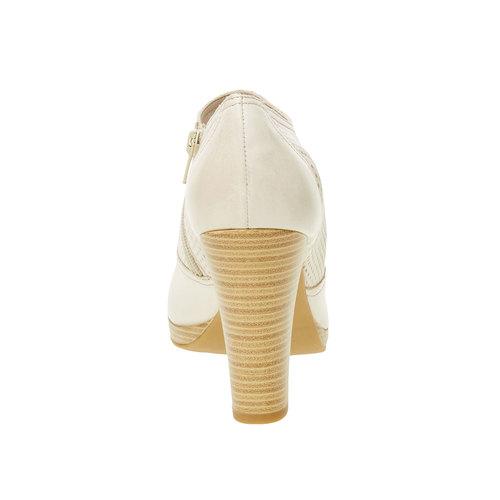 Scarpe basse di pelle con tacco bata, bianco, 724-8932 - 17