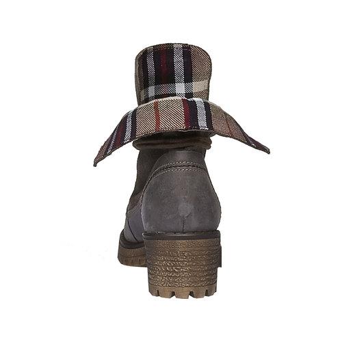 Scarpe in pelle con suola a carro armato e orlo originale weinbrenner, grigio, 694-2167 - 17