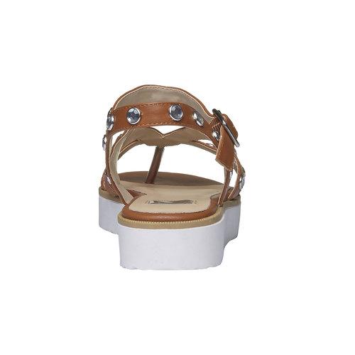 Sandali da donna con strisce e flatform bata, marrone, 561-3225 - 17