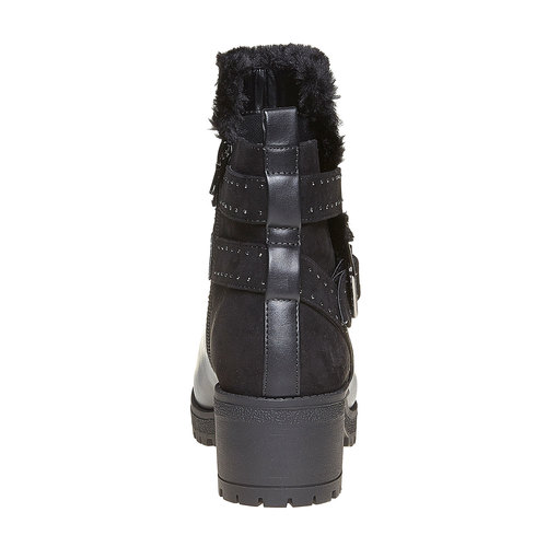 Scarpe da donna alla caviglia con suola appariscente bata, nero, 691-6160 - 17
