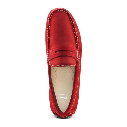 Mocassini in pelle bata, rosso, 853-5180 - 17