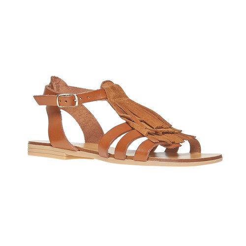 Sandali da bambina in pelle con cinturino alla caviglia. mini-b, marrone, 364-3190 - 13