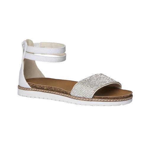 Sandali da bambina con cinturino alla caviglia mini-b, bianco, 361-1161 - 13