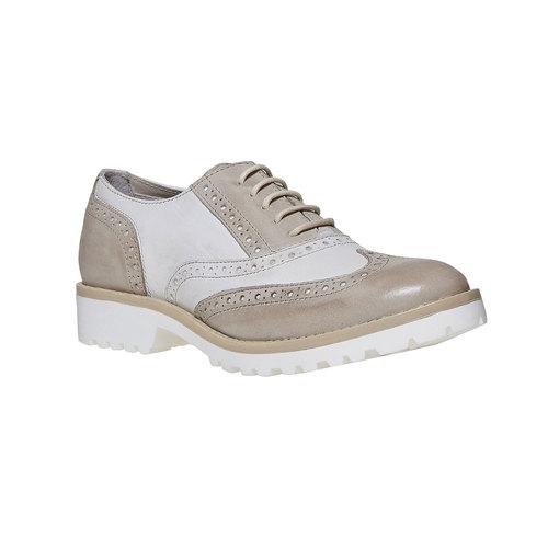 Scarpe basse di pelle con decorazione Brogue bata, grigio, 524-2129 - 13