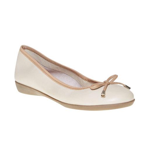 Ballerine da donna in pelle bata, beige, 524-8485 - 13