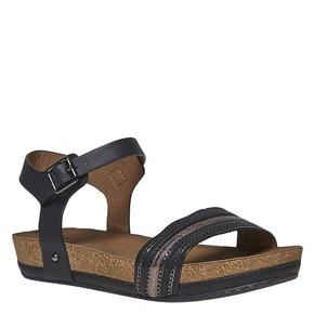 Sandali da donna dalla suola appariscente bata, nero, 561-6404 - 13