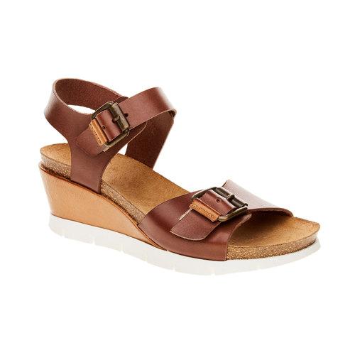 Sandali da donna con strisce weinbrenner, marrone, 664-4193 - 13