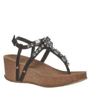 Sandali con strass e plateau bata, nero, 669-6214 - 13