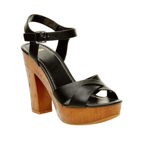 Sandali con tacco massiccio bata, nero, 761-6500 - 13
