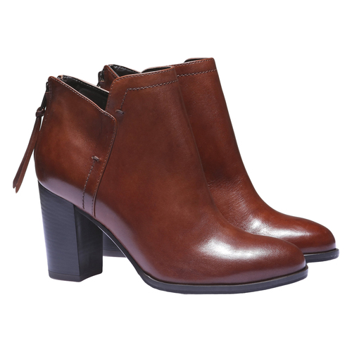 Scarpe di pelle alla caviglia bata, marrone, 794-3576 - 26