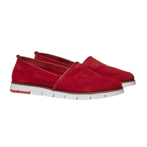 Slip-on di pelle con perforazioni flexible, rosso, 513-5200 - 26