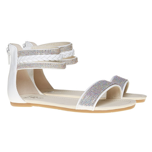 Sandali da ragazza con strass mini-b, bianco, 361-1178 - 26