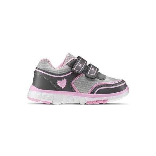 Sneakers da ragazza con chiusure a velcro mini-b, grigio, 229-2175 - 26