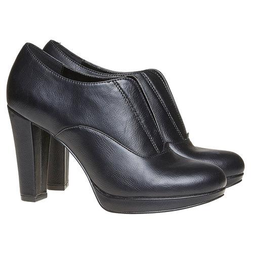 Scarpe basse da donna con tacco alto bata, nero, 721-6289 - 26
