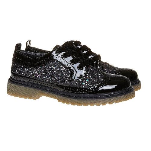 Scarpe basse da bambina con glitter mini-b, nero, 329-6221 - 26